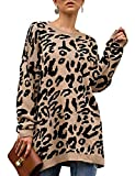Très Chic Mailanda Women's Leopard Print Sweaters Pullover Oversized Long Sleeve Casual Loose