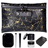 Aisto Smell Proof Bag Kit with Lock - Black & Gold Pattern Waterproof Herb Container Odor Proof Bundle 6 Accessories - Herb Grinder Doob Tube Rolling Tray Oil Jar Mylar Bags