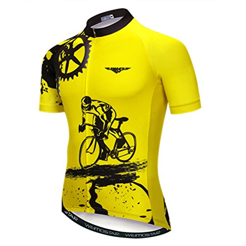 MTB Jersey Mens Cycling Jerseys Short Sleeve Bike MTB Jersey Zip Mountain Road Clothing Bicycle top Shirts Breathable Summer Pro Team Sports Racing Cycle Jersey for Men Quick Dry Yellow M