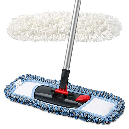 CLEANHOME Dust Mop for Floor Cleaning Microfiber Professional Dry & Wet Flat Mops for Tile Floors with a Extra Chenille Refill Mopping Pad for Hardwood,Tile,Marble Floor