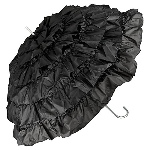 VON LILIENFELD Regenschirm Damen Sonnenschirm Brautschirm Hochzeitsschirm Rüschen Mia schwarz