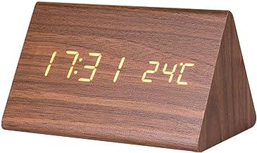 VICASKY Relógio Digital de Madeira Relógio Despertador Eletrônico Levou Exibição de Tempo Temperatura Detectar para Cabece...