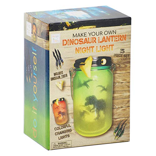 Hapinest DIY Dinosaur Toy Lantern Night Light Kit - Arts and Crafts Gift for Boys or Girls Ages 6 7 8 9 10 Years Old and Up