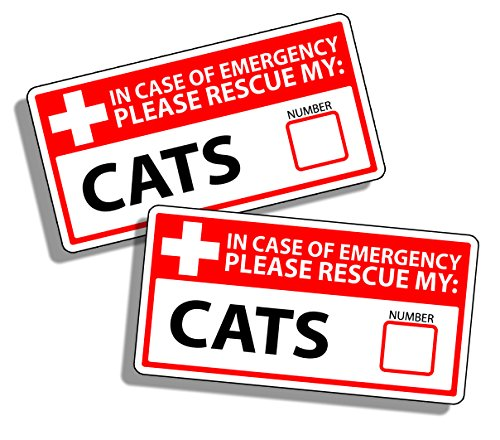 1st First Aid Emergency Warning Stickers - Cat Cats Kitten Safety Rescue Fireman Fire Pet Animals Help Save K9 Home Office