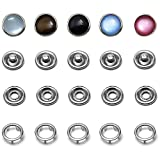 Pearl Snaps Fasteners Kit,10m Prong Ring Snaps for Western Shirt Clothes Popper Studs(5 Color x 10 Sets)