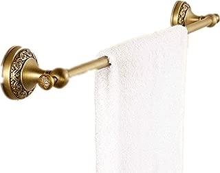 AUSWIND European Antique Bronze Brushed Brass Flowers Carved Towel Bar 23'' Circular Base Towel Holder Wall Mounted Bathroom Accessories HW