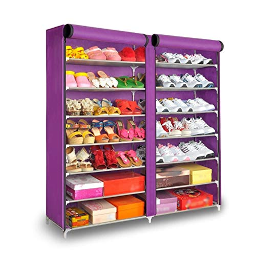 Shoe Rack First Aid Bedroom 7-story Shoe Rack For 45 Pairs Of Shoes, DIY Assembled Non-woven Shoe Rack, No Tools Available 4 Colors Optional (Color : Purple)