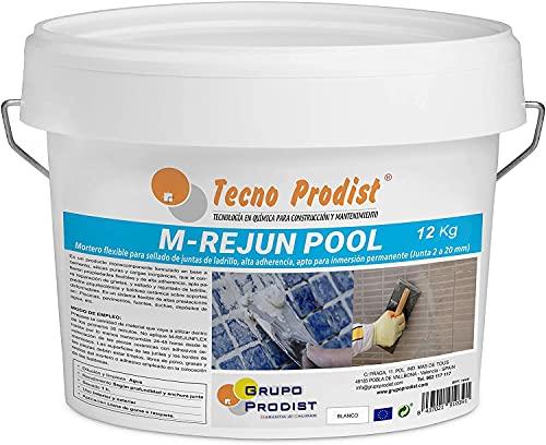M-REJUN POOL von Tecno Prodist - (12,5 kg) Flexibler Mörtel zur Versiegelung von Fliesenfugen und Fugen in Schwimmbädern, Keramik, Ziegeln, etc., geeignet für dauerhaftes Eintauchen (2 bis 20 mm) Weiß