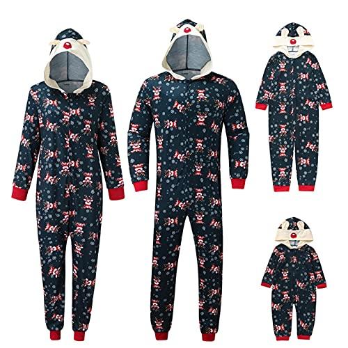 Pijamas de Navidad para la Familia Onesies Pijamas Conjuntos de Oso Oreja con Capucha Mameluco de Cremallera de Pj Mono Loungewear, A-negro, 4-5 años