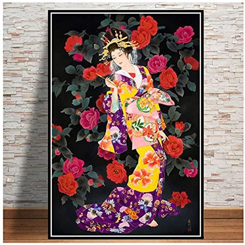 Pintura de mujer geisha japonesa Japón Ukiyoe póster impresiones lienzo clásico japonés arte de la pared Cuadros de la sala de estar Decoracion de la pared 50x70 cm X1 sin marco
