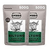 Ember Biltong 1kg Großpacksack - Beef Jerky - Proteinreicher Snack - Knoblauch und Rosmarin (2x500g)