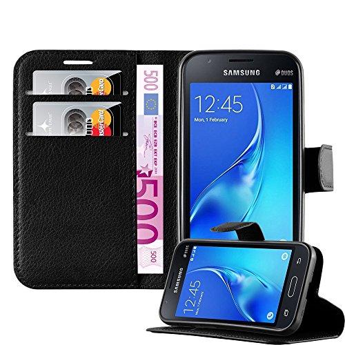 Cadorabo Funda Libro para Samsung Galaxy J1 Mini en Negro Fantasma - Cubierta Proteccíon con Cierre Magnético, Tarjetero y Función de Suporte - Etui Case Cover Carcasa