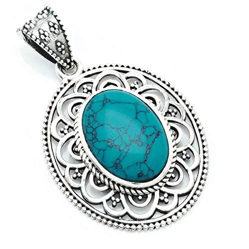 Kettenanhänger Amulett Silber 925 Sterlingsilber Türkis blau grün Stein (Nr: MAH 131-15)