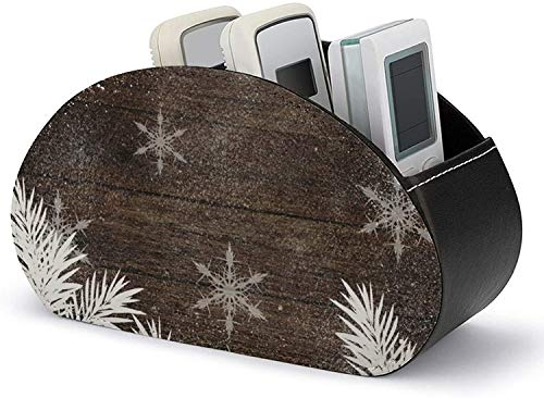 PU Leather TV Remote Control Holder Organizer Box,Snow Pine Trees Brown Rustic Wood Winter Organization and Storage with 5 Spacious Compartments for DVD/Blu-Ray/Media Player/Heater Controllers