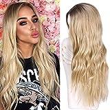 YEESHEDO Ombre peluca rubia con raíces oscuras natural ondulado largo rizado Pelucas sintéticas para las mujeres Cosplay partido desgaste diario