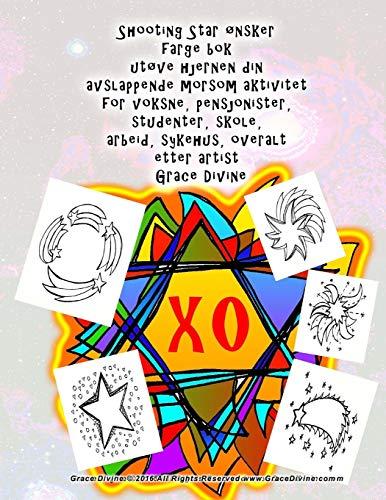 Shooting Star ønsker farge bok utøve hjernen din avslappende morsom aktivitet for voksne, pensjonister, studenter, skole, arbeid, sykehus, overalt etter artist Grace Divine