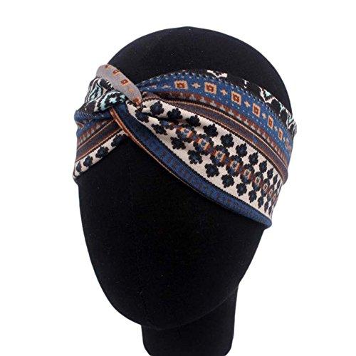Demarkt 1 Pcs Femme Bandeau Folk-Custom Traverser Cheveux Nœud d'oreille Headband Elastique Humidité Artificiel Hairband Twisted Hair pour Sport Yoga Accessoire 22 * 9cm Marin