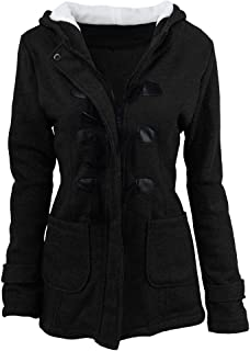Ti caring Womens Coat Wool Blended Warm Slim Hooded Winter Windbreaker Zipper Closure Jacket