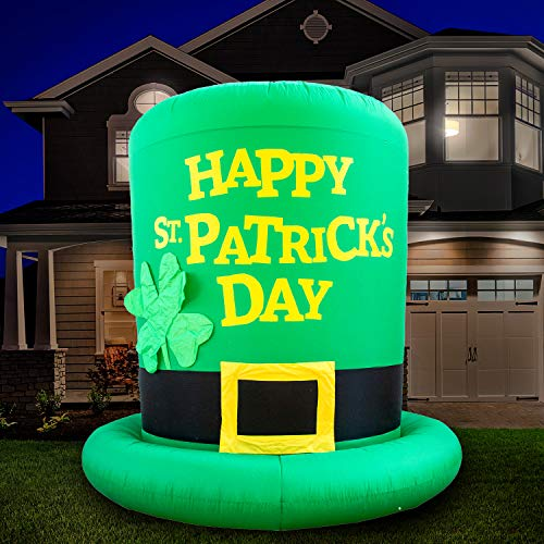 Holidayana 8ft St Patricks Day Inflatable Top Hat - Large St Patty's Shamrock Leprechaun Hat Blow Up Yard Decoration, Includes Built-in Bulbs, Tie-Down Points, and Powerful Built-In Fan