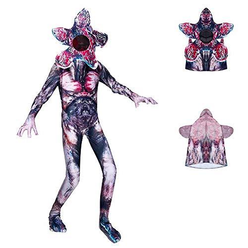 RenKeAi Niños Stranger Things Demogorgon Disfraz Body Halloween Skull Trooper Cosplay Temporada 3 Zentai Monster Onesies Jumpsuit Set Completo con máscara para niños