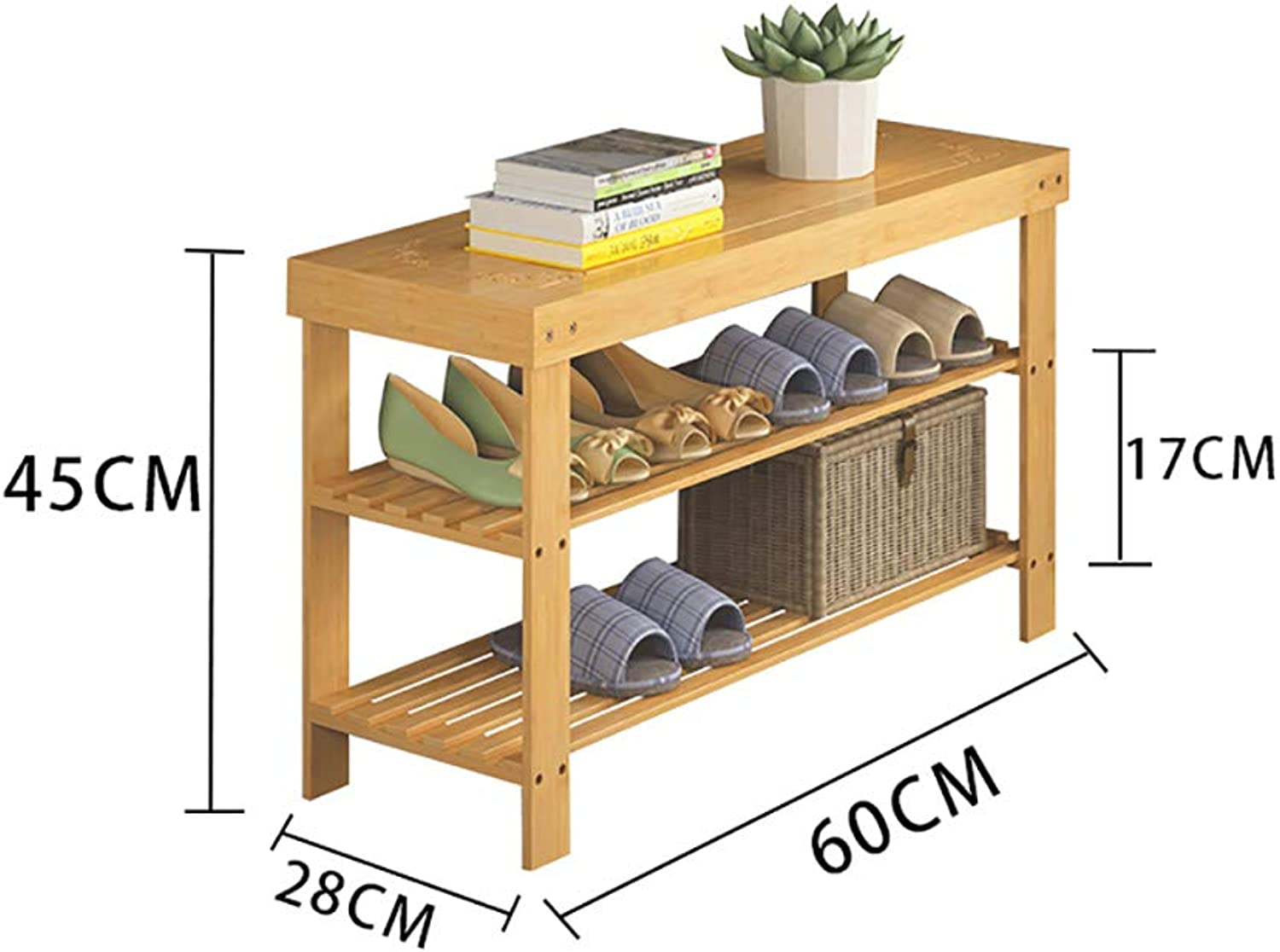shoes Bench Organizing Rack Bamboo shoes Shelf Simple Multi-Layer dustproof Multi-Purpose shoes Change shoes Bench Economy Home Dormitory Shelves (Size   60  28  45cm)