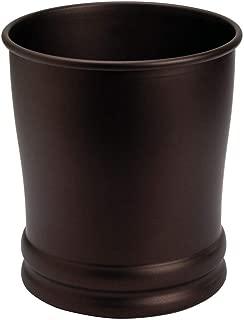 iDesign Olivia Metal Wastebasket, Small Round Plastic Vintage Trash Can for Bathroom, Bedroom, Dorm, College, Office, 9