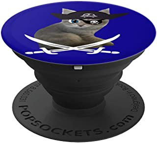 Cute Kitten Pirate wearing eye patch hat humorous cat lover PopSockets Grip and Stand for Phones and Tablets