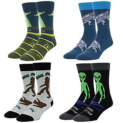 ZMART Funny Crazy Alien Bigfoot Shark Socks for Men, Novelty Space Sasquatch Sharl Lover Gift