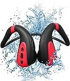 Easycosy Casque de Natation à Conduction osseuse Bluetooth Conduction osseuse IPX8 étanche avec Microphone Lecteur de Musique sans Fil à Oreille Ouverte Stockage 8G pour Le Cyclisme Jogging Rouge