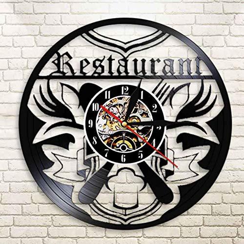DAF Restaurant logo wandklok voor keuken keuken wandklok vinyl wandklok voor Mensa koken Chef Gourmet Gourmet mes en vork polshorloge
