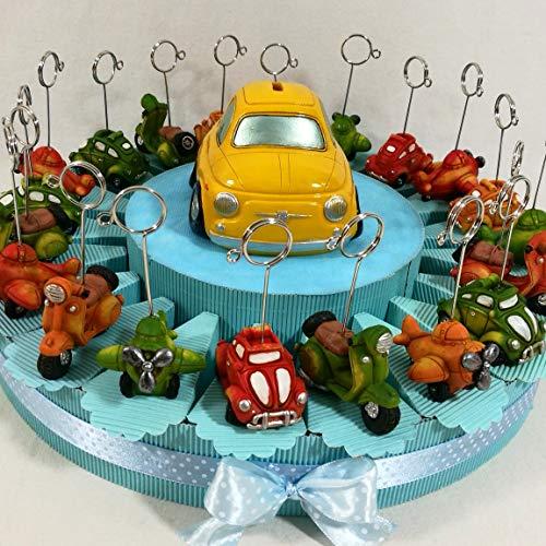bomboniere Auto Clip Originali bomboniere Bambino Battesimo, Comunione, cresima - Torta 20 fette + 1 salvadanaio + Confetti