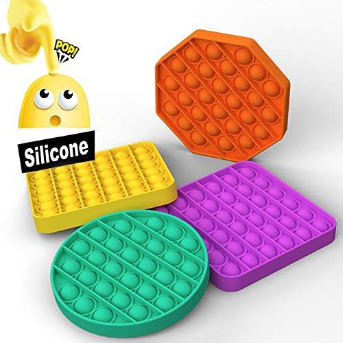 FUNSHINNY Hot Pop It Fidget Toys Push Bubble Sensory Adulto Alivio del estrés Descompresión de mesa Anti-estrés Pops It Soft Squeeze Juguetes Regalo (Color: G)
