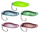 FISHN Shiny Trout Spoon Set - Größe 3,2cm, Gewicht 3,5g, Forellenköder, Forellenspoons, Forellenblinker zum Angeln auf Forelle, Saibling & Barsch, Spinnfischen (Shiny Set 3,5g Rainbow (5X))
