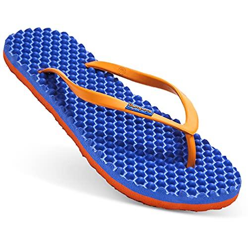 bumpers Women's Slim Massage Flip Flop (6 US / 35-36 EU, Blue & Orange)