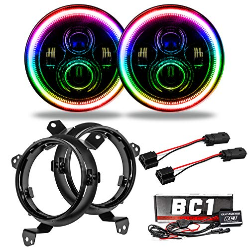 ORACLE Wrangler JL 7in. High Powered LED Headlights (Pair) - Pair LED Headlights with Color Halo Compatible with Jeep Wrangler (ColorSHIFT with BC1 Controller) - Part # 5769J-335