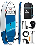 Abahub Inflatable SUP, Wide 10'6' x 34' x 6' iSUP, Blue Standup Paddleboard with Adjustable Carbon Fiber Paddle, Kayak Seat, for Yoga, Paddle Board, Kayaking, Surf, Canoe, Fishing