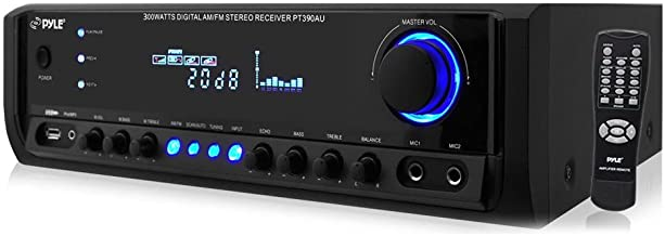 Home Audio Power Amplifier System - 300W 4 Channel Theater Power Stereo Sound Receiver Box Entertainment w/ USB, RCA, AUX,...
