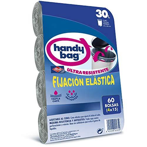Handy Bag Bolsas de Basura 30L, Extra Resistentes, Elásticas, 60 Bolsas