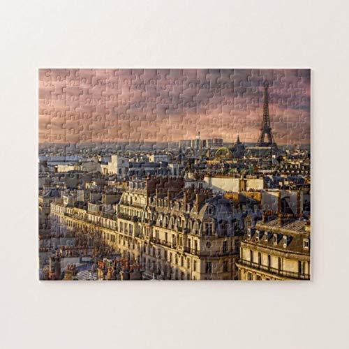 CICIDI Paris France Skyline Eiffel Tower Pink Sky Jigsaw Puzzle 1000 Pieces for Adult Entertainment DIY Toys , Graet Gift Home Decor