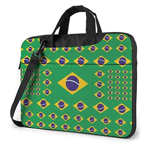 Brazil Flag Laptop Shoulder Bag 15.6 Inch Laptop Messenger Case Laptop Sleeve Carrying Case with Strap