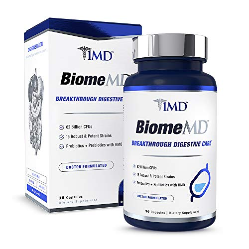 1MD BiomeMD Probiotics | 62 Billion CFUs, 15 Clinically Studied Strains - Pro & Prebiotics with HMO | Doctor-Formulated for Digestive Health & Immune Support | 30 Capsules