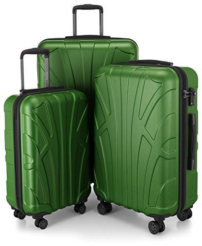 Suitline 3er Koffer-Set Trolley-Set Rollkoffer Hartschalen-Koffer Reisekoffer, TSA, (55 cm, 66 cm, 76 cm), 100% ABS, Matt, Grün