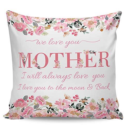 WXM 45,7 x 45,7 cm, rosas rosas rosas florales, fundas con cremallera, fundas para cojín, oficina, sofá, dormitorio, decoración del hogar, flores de acuarela para el día de la madre