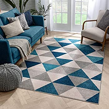 Mid-century modern rug with geometric shapes