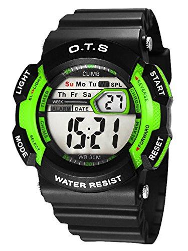 O.T.S Deportivo Reloj de Pulsera de Cuarzo Alarma Luz Cronómetro Regalo para Niños Estudiantes Wrist Watch 30M Waterproof