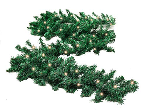 Inhoom 9 ft Prelit Christmas Pine Garland with 50 Battery Operated Warm White LED Lights Timer Outdoor Display