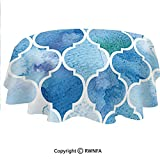 Polyester Customize Tablecloth Abstract Moroccan Trellis Geometric Pattern Curves Persian Mosaic Waterproof Table Top Cover for Kitchen Dining Room Table Protection Blue Baby Blue