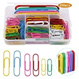 250 piezas Clips de papel Colores variados Pequeño mediano Grande Clips 28 mm, 50 mm, 100 mm para la Escuela, Material de Oficina, Papel, papelería