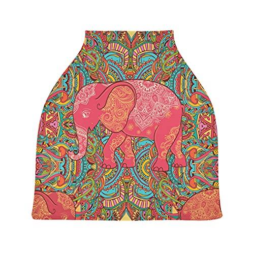 Elefante De Arte Rojo La Lactancia Materna Enfermería Cubierta Asiento de Coche de Bebé con Dosel Transpirable Carros de La Compra Cubierta para Bebé