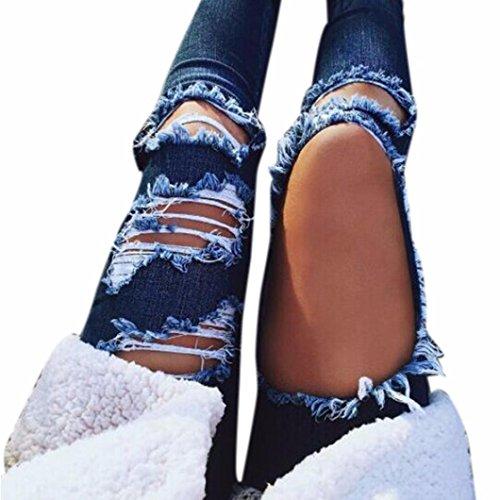 Destroyed Jeanshose Mittlere Taille Jeans VENMO Frauen lässig blaue Kratzer Loch zerrissen Hosen Denim Hose Slim Fit Jeansshorts Kurze Hose Destroyed Used-Look Destroyed Beachwear Button (S, Blue)